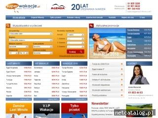 Zrzut ekranu strony www.superwakacje.pl