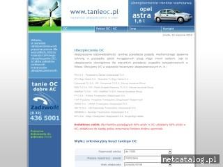 Zrzut ekranu strony www.tanieoc.pl