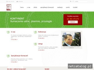 Zrzut ekranu strony tlumaczeniakontynent.pl