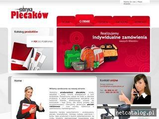 Zrzut ekranu strony fabrykaplecakow.pl